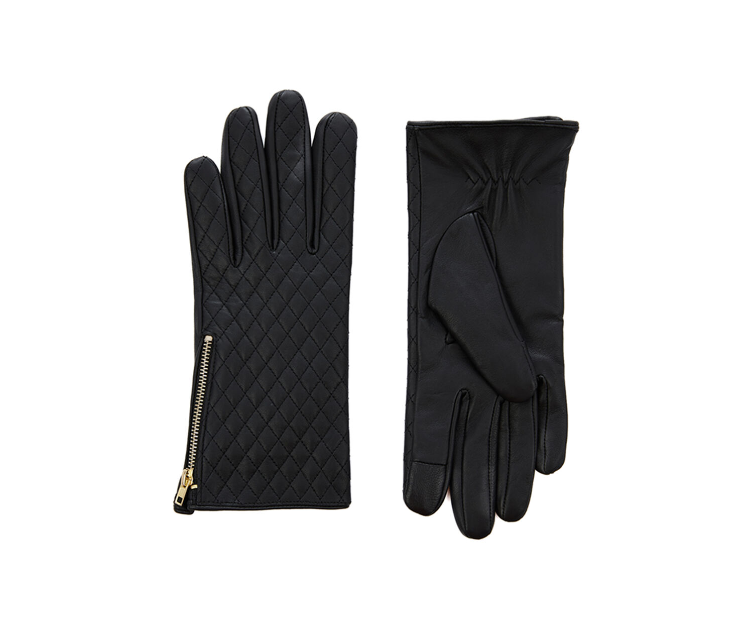 Oasis, LEATHER QUILTED GLOVE Black 1