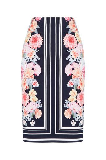 Oasis, Petite Scarf Floral Skirt Multi Blue 0