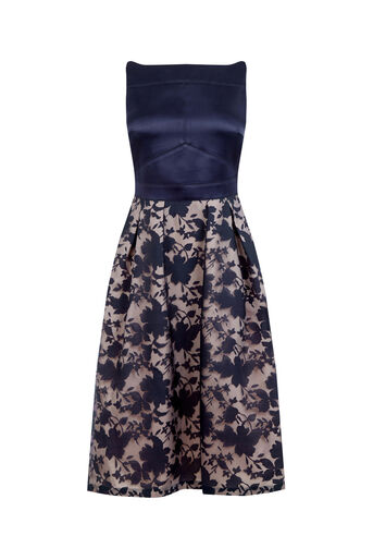 Oasis, ORGANZA MIDI DRESS Navy 0