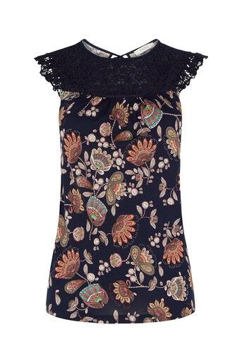 Oasis, Goddess Crochet Top Navy 0