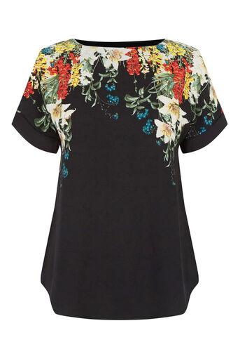 Oasis, T-shirt bouquet d'hiver Noir multicolore 0