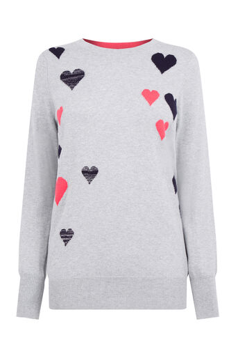 Oasis, Heart cosy knit Mid Grey 0