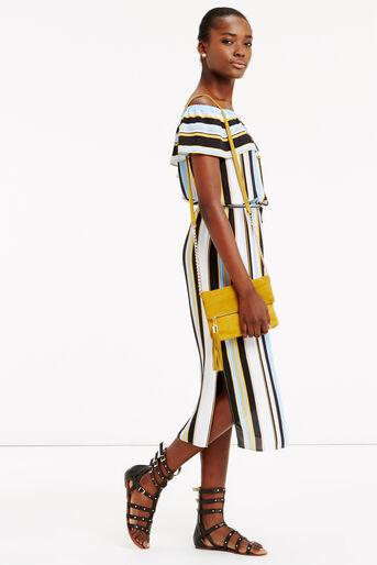 Oasis, Stripe Bardot Dress Multi 2