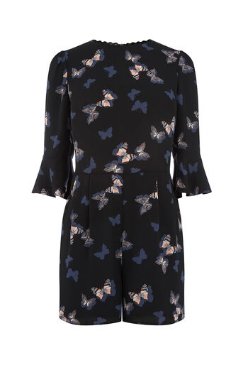 Oasis, BUTTERFLY PLAYSUIT Multi Black 0