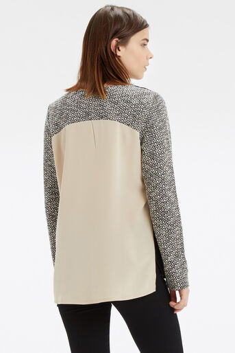 Oasis, Artisan Woven Back Sweat Black and White 3