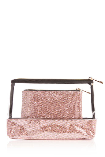Oasis, GLITTER WASH BAG Rose Gold 0