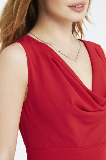 Oasis, Petite Cowl Neck Dress Rich Red 4