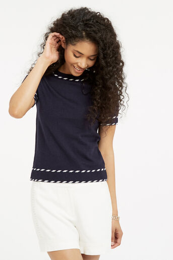 Oasis, Cute tipped SS knit Navy 1