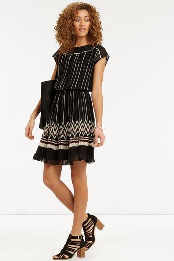 Oasis, Pleat Stripe Dress Multi Black 2