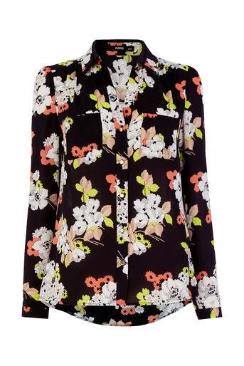 Oasis, Edie Floral Shirt Multi Black 0