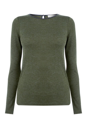 Oasis, LUXE JERSEY TOP Khaki 0