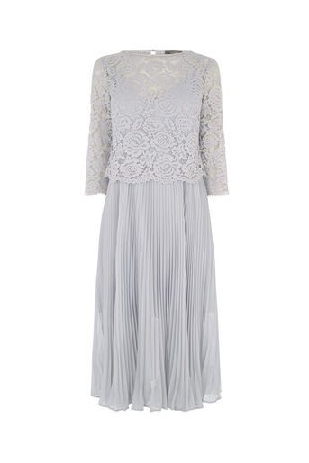Oasis, LACE TOP PLEATED MIDI DRESS Pale Grey 0