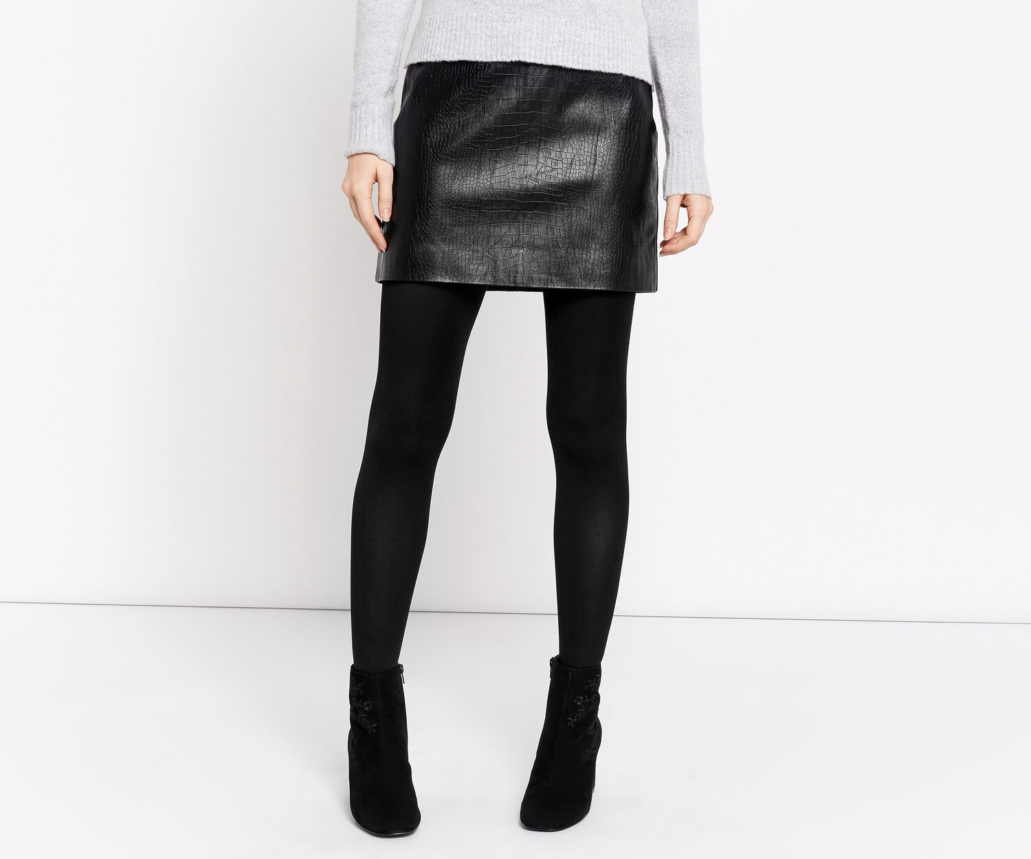 Oasis, FAUX LEATHER CROC SKIRT Black 1