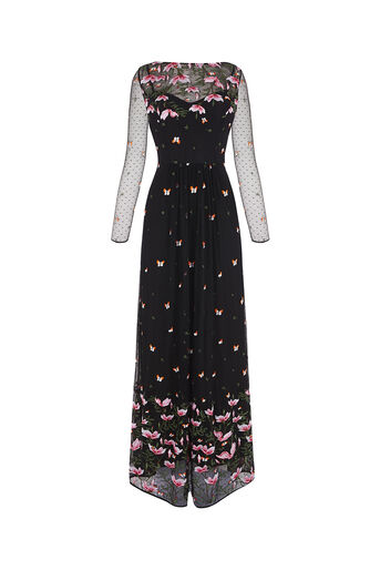 Oasis, EMBROIDERED MAXI DRESS Multi Black 0