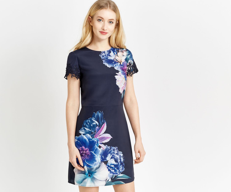Oasis, WILD FLORAL SHIFT DRESS Multi Blue 1