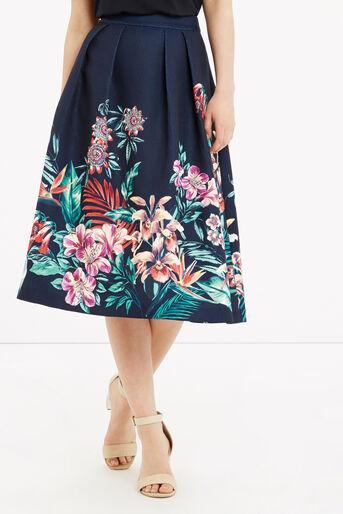 Oasis, Tropical Jacquard Midi Skirt Multi Blue 1