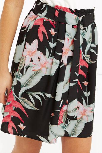 Oasis, Tropical Belted Skirt Multi Black 4