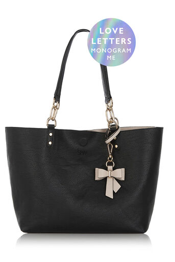 Oasis, MONOGRAM REVERSIBLE BOW BAG Black 0