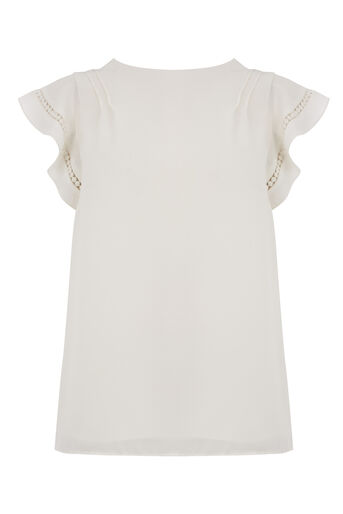 Oasis, FRILL SLEEVE TOP Off White 0
