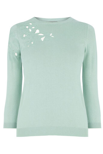 Oasis, FLORAL CUT OUT KNIT Teal Green 0