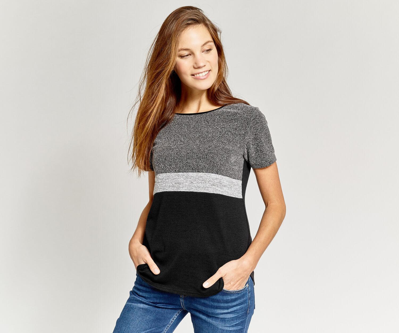 Oasis, T-shirt empiècement tweed Noir et blanc 1