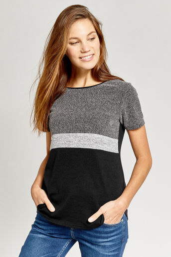 Oasis, TWEED PATCHED TEE Black and White 1