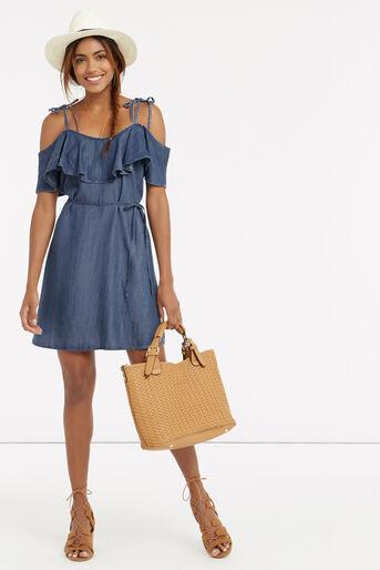 Oasis, Ruffle frill dress Denim 2