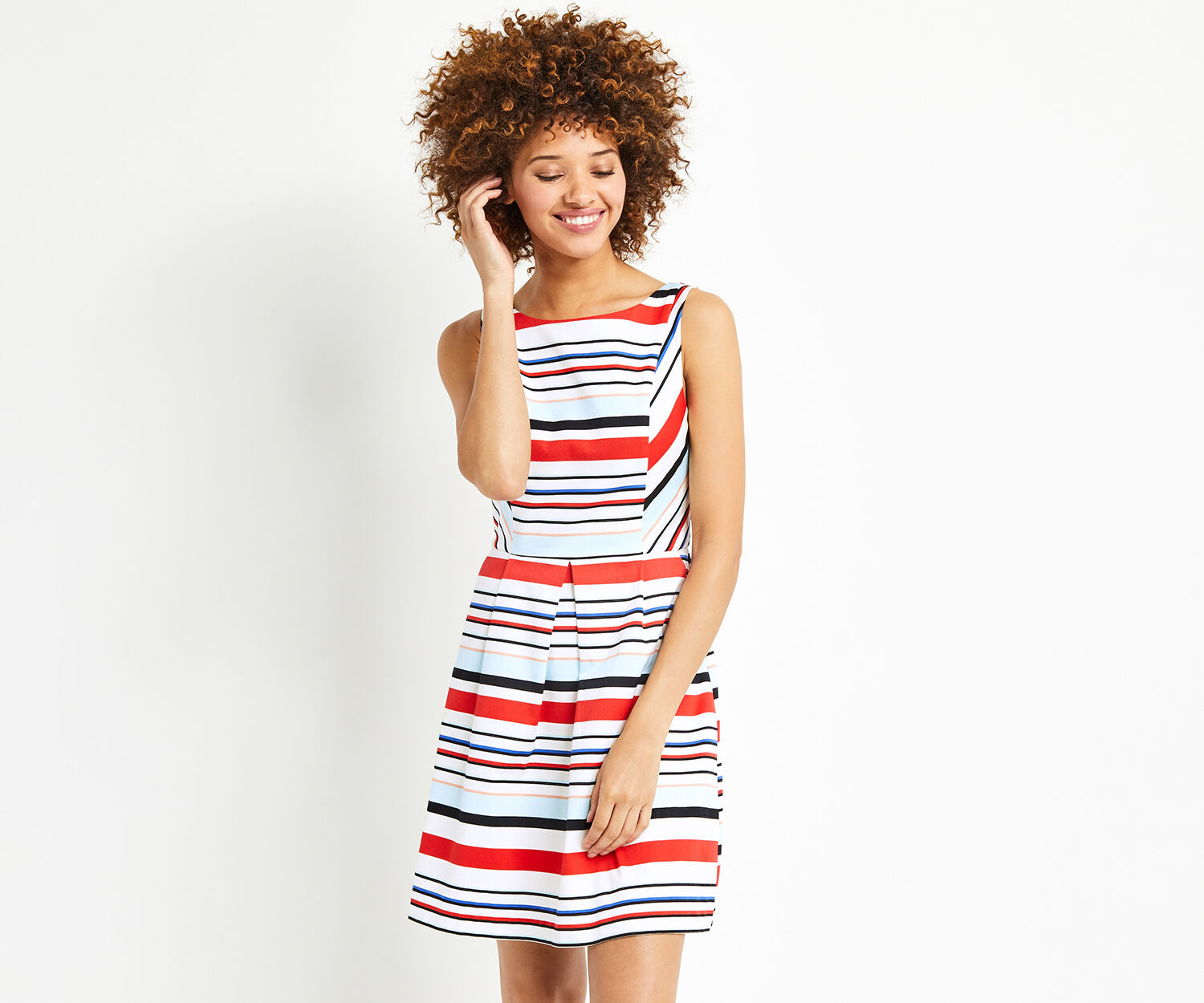 Oasis, STRIPE SUN DRESS Multi 1