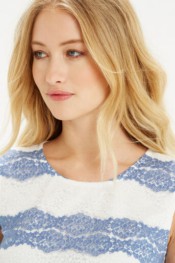 Oasis, Chambray Lace Stripe Shell Off White 4
