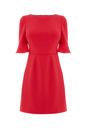 Oasis, EMBELLISHED FLUTE SLEEVE SHIFT Rich Red 0