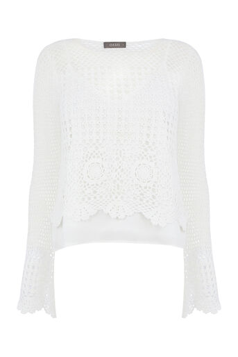 Oasis, CROCHET TOP Off White 0