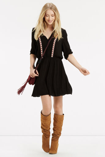 Oasis, Cheesecloth Smock Dress Black 2
