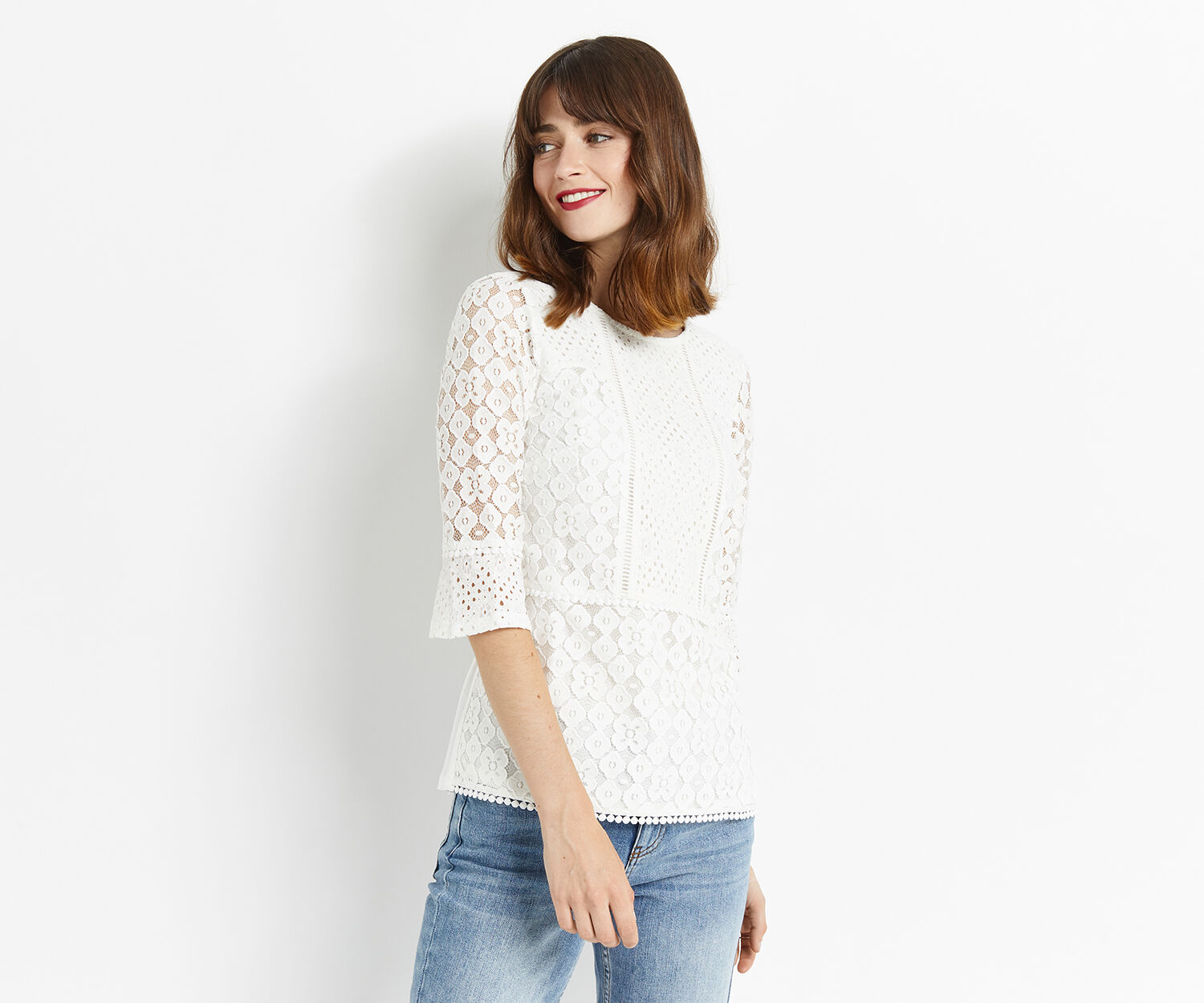 Oasis, KICK SLEEVE LACE TOP Off White 1
