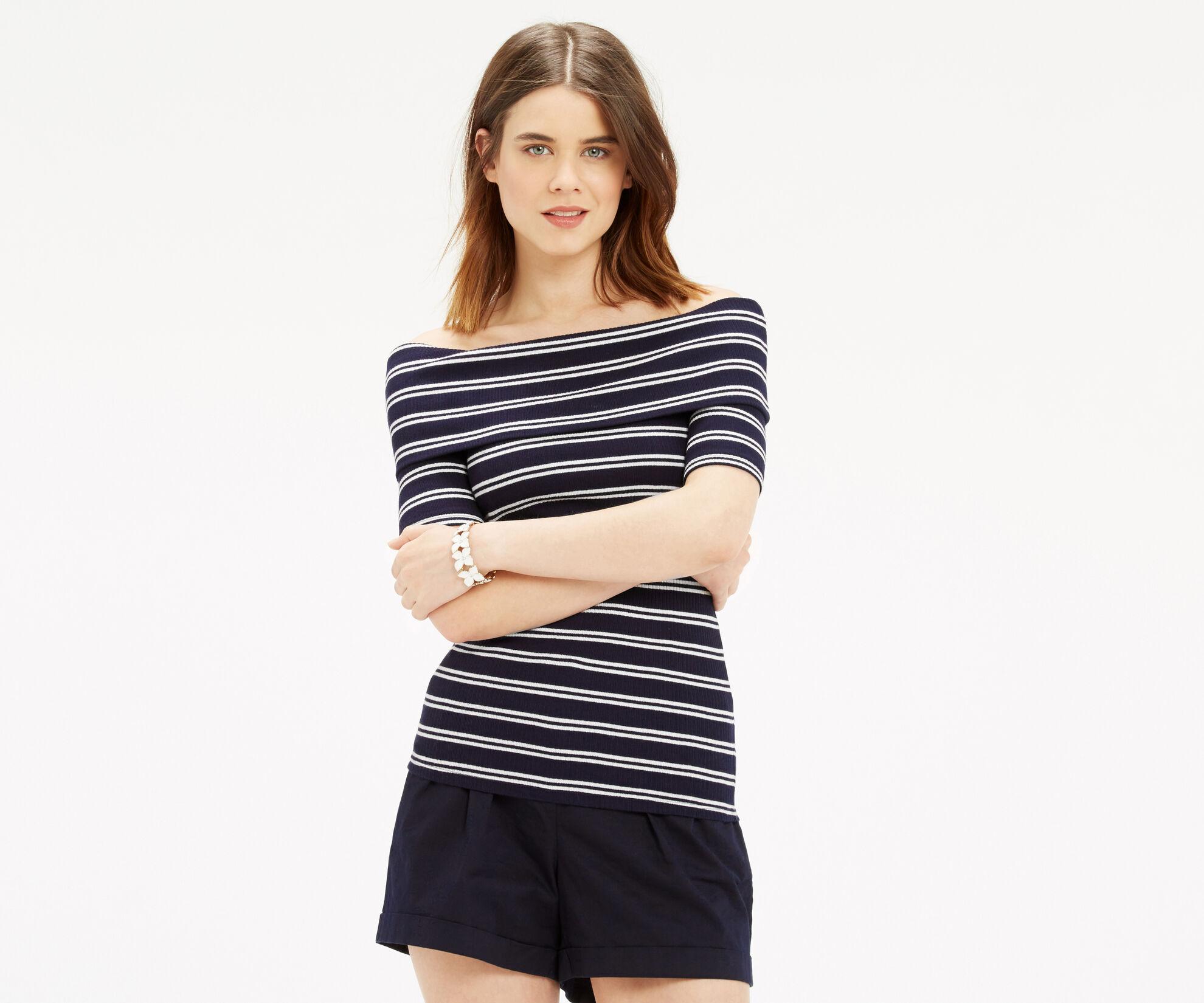 Oasis, Stripe Bardot Rib Top Multi 1