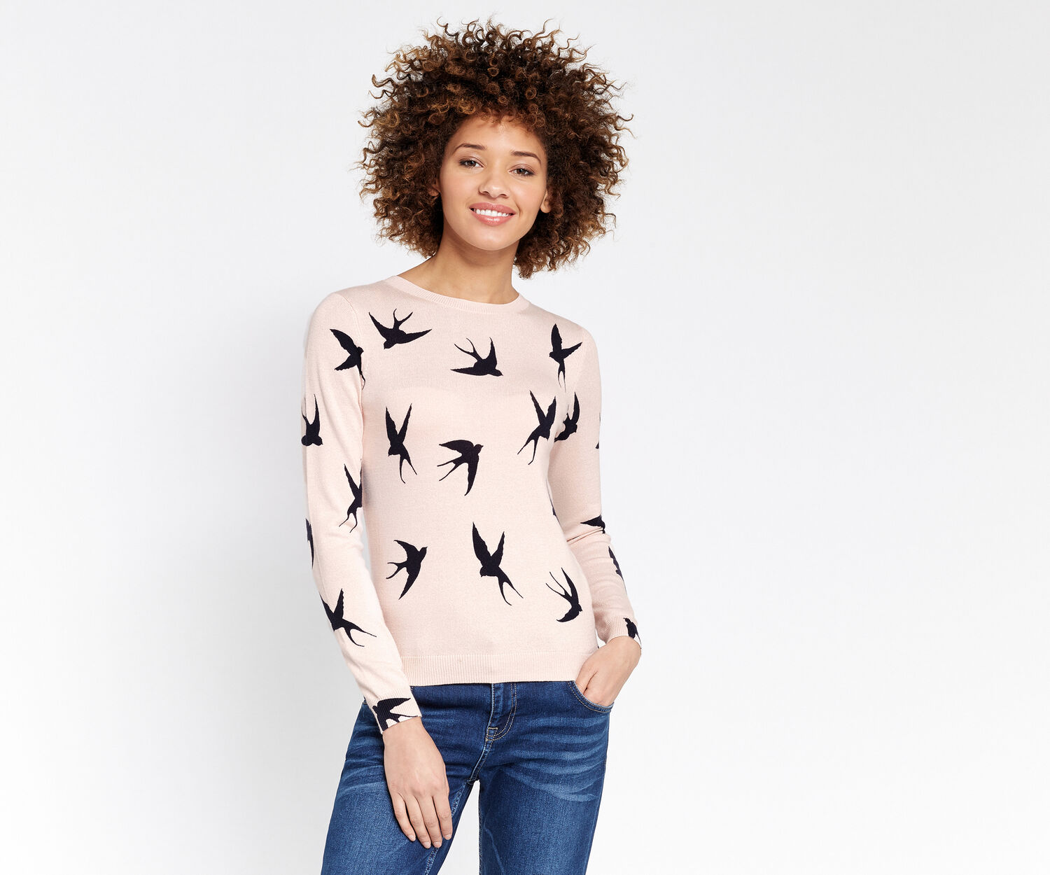 Oasis, Shadow bird knit Multi Pink 1