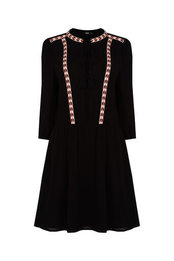 Oasis, Cheesecloth Smock Dress Black 0
