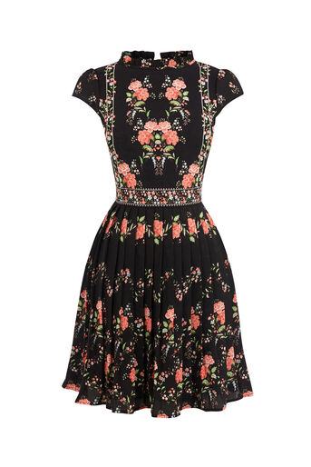 Oasis, VERMONT RUFFLE NECK DRESS Multi Black 0