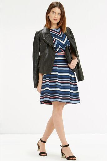 Oasis, Chevron Stripe Dress Multi Blue 2