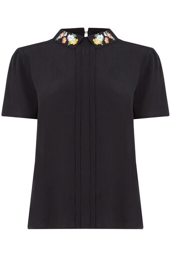Oasis, Embroidered Collar Top Black 0