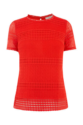Oasis, MARAIS LACE TEE Mid Red 0