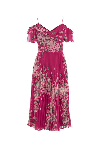 Oasis, KIMONO PLEATED MIDI DRESS Multi Pink 0
