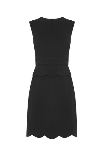 Oasis, SCALLOP SHIFT DRESS Black 0