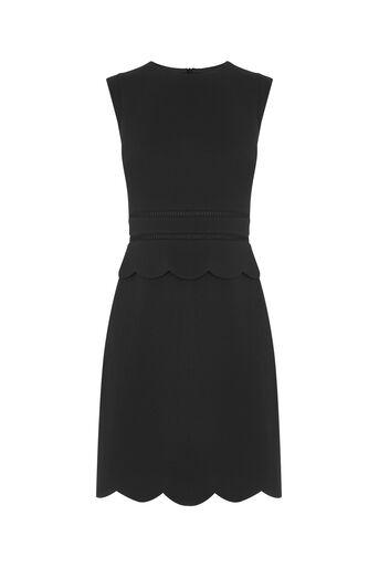 Oasis, SCALLOP SHIFT DRESS Black 0