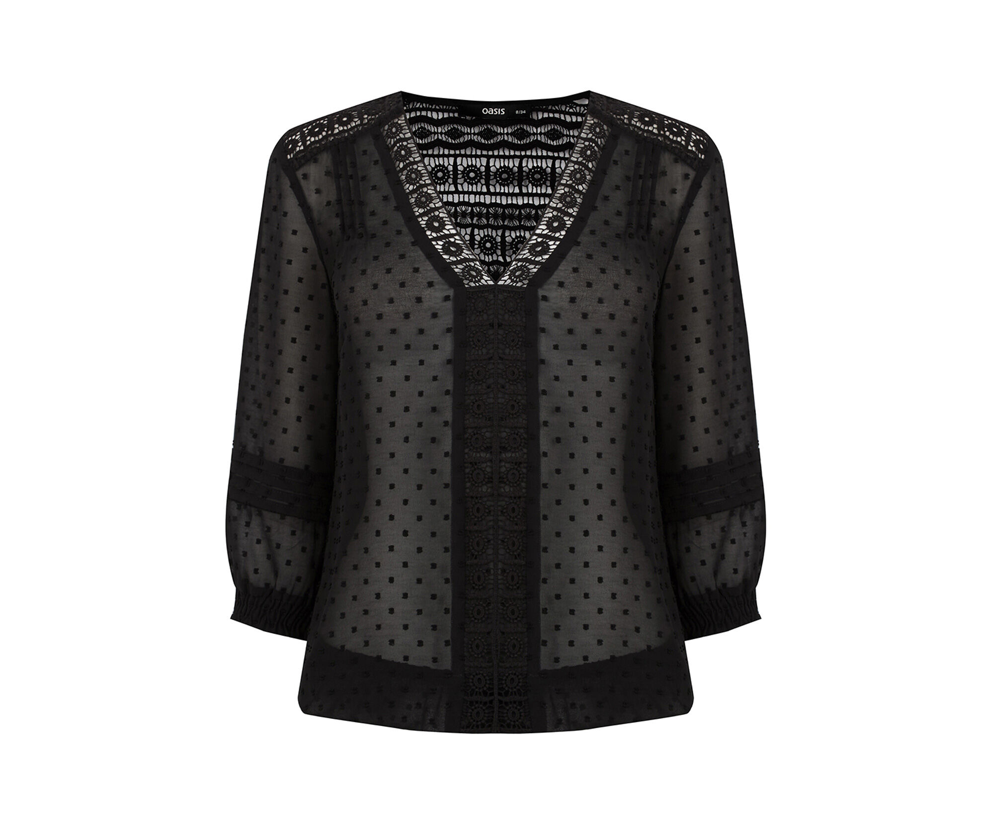 Oasis, Dobby Lace Trim Blouse Black 0