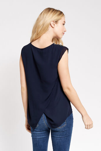 Oasis, FLORAL LACE TRIM TEE Navy 3