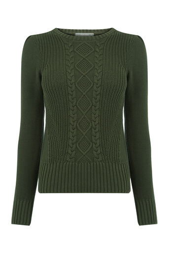 Oasis, Cable Knit Jumper Khaki 0