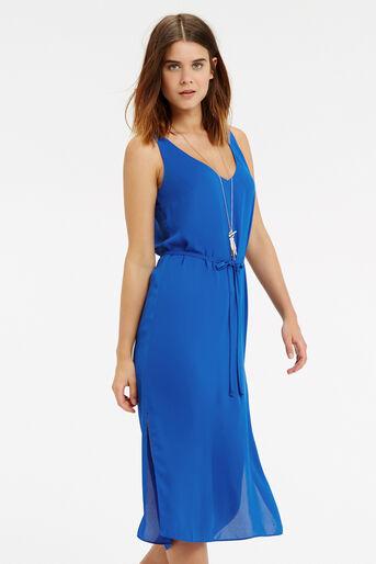 Oasis, V Front And Back Midi Dress Mid Blue 1