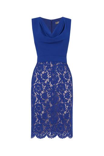 Oasis, Cowl Neck Lace Pencil Dress Rich Blue 0