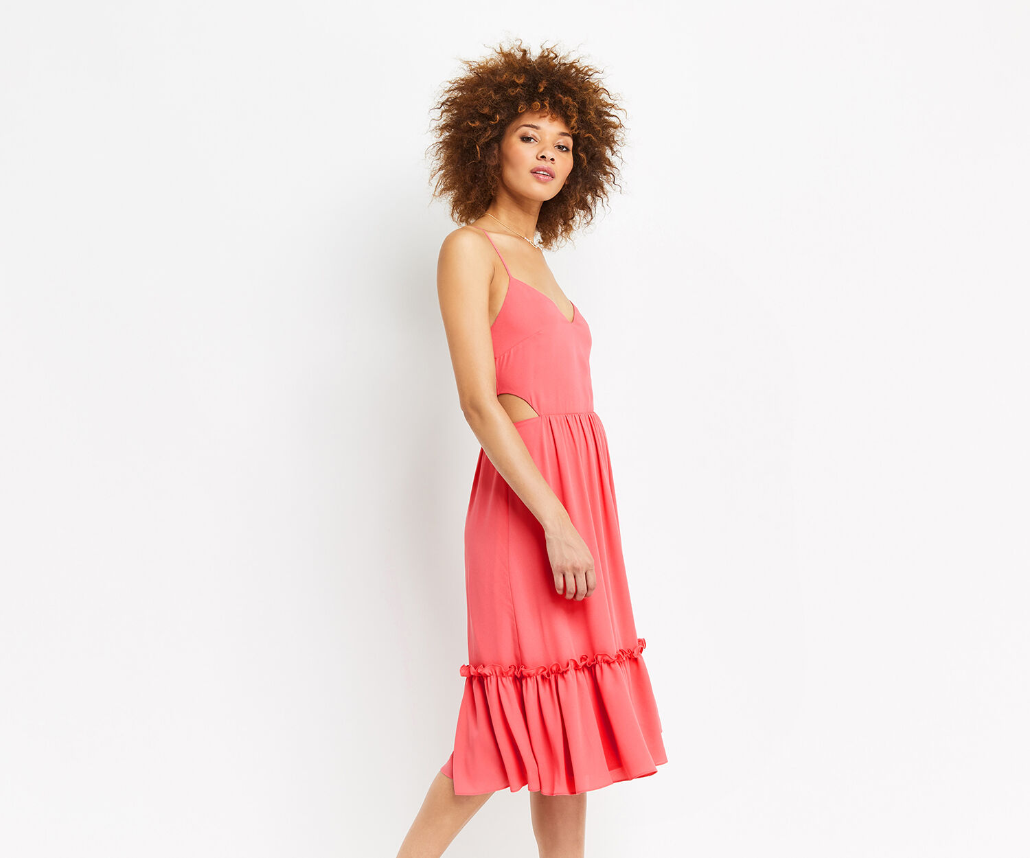 Oasis, CUT-OUT SIDE MIDI DRESS Mid Pink 1