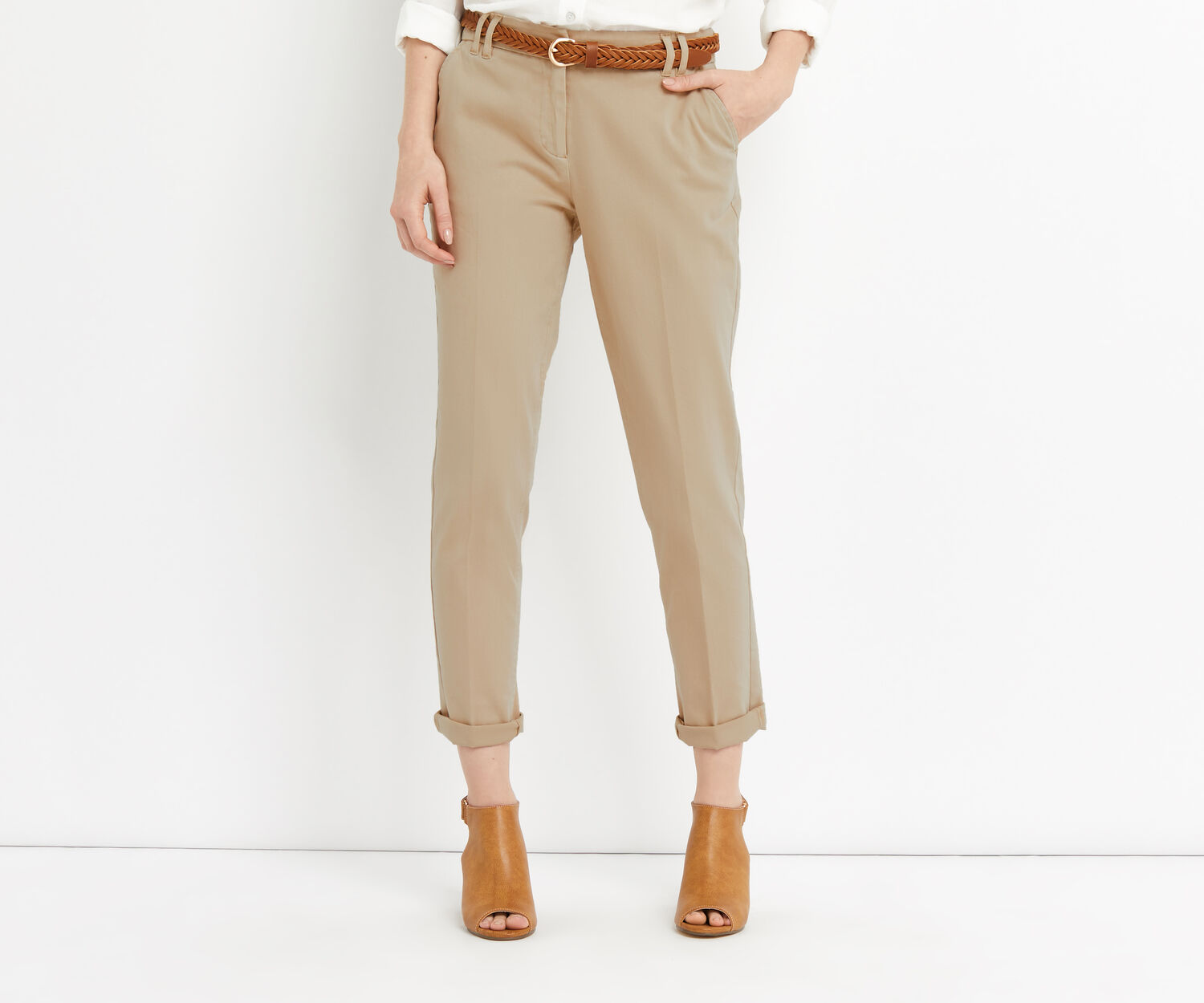 Oasis, EMMY CHINO TROUSER Mid Neutral 1